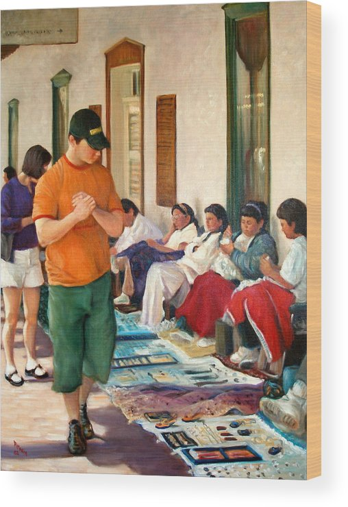 Realism Wood Print featuring the painting Indian Market by Donelli DiMaria