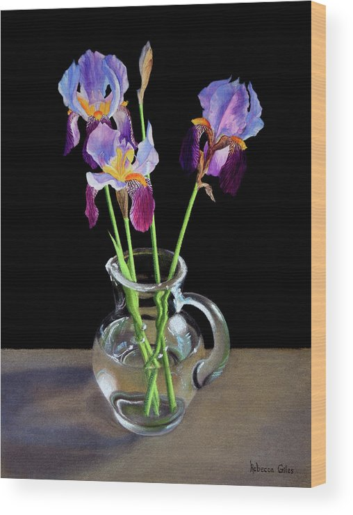Iris Wood Print featuring the pastel Irises In A Glass Pitcher by Rebecca Giles