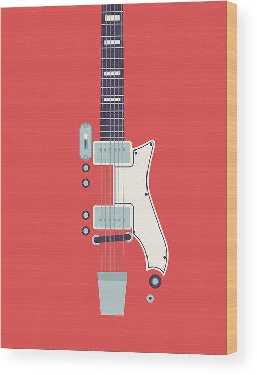 Guitar Wood Print featuring the digital art 60's Electric Guitar - Red by Ivan Krpan