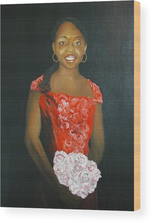 Portrait Wood Print featuring the painting Jaclyn by Angelo Thomas