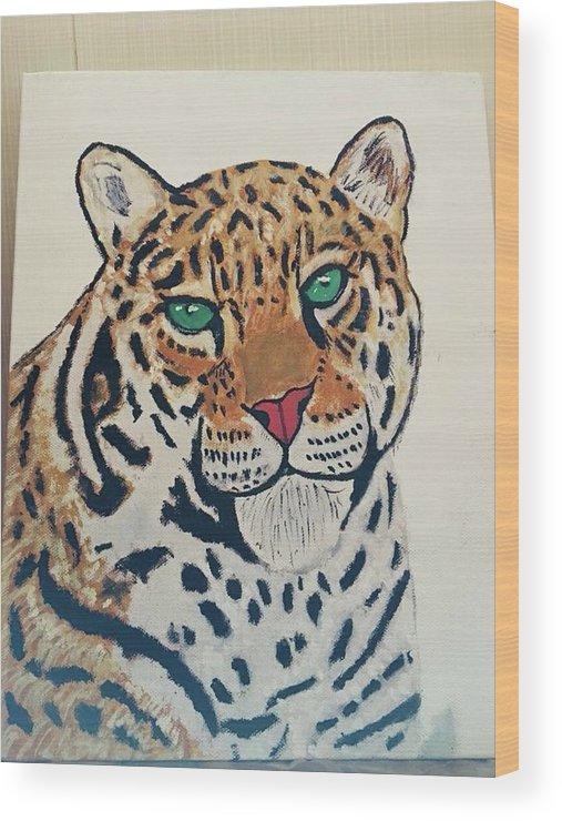 Jaguar Wood Print featuring the painting Jaguar Painting by Mohit Yadav