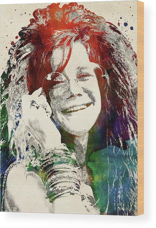 Janis Joplin Wood Print featuring the digital art Janis Joplin Portrait by Mihaela Pater