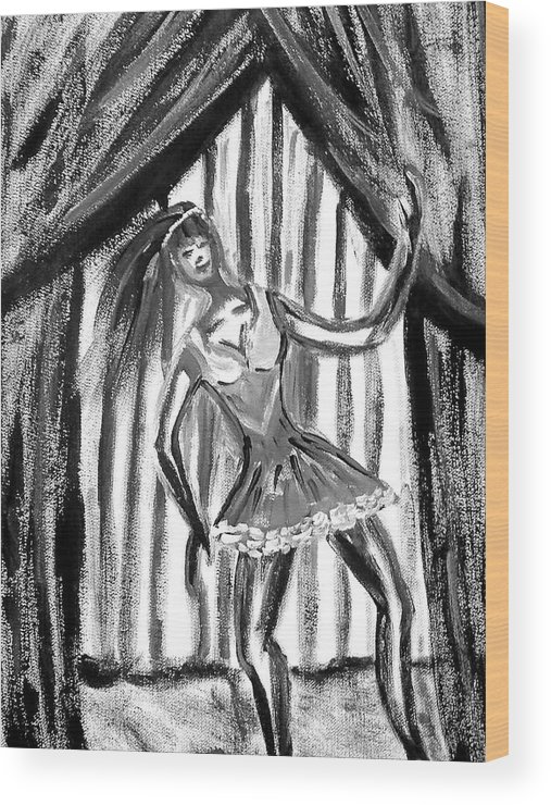 Dance Wood Print featuring the painting Jazz Dancer In Black And White by BJ Abrams