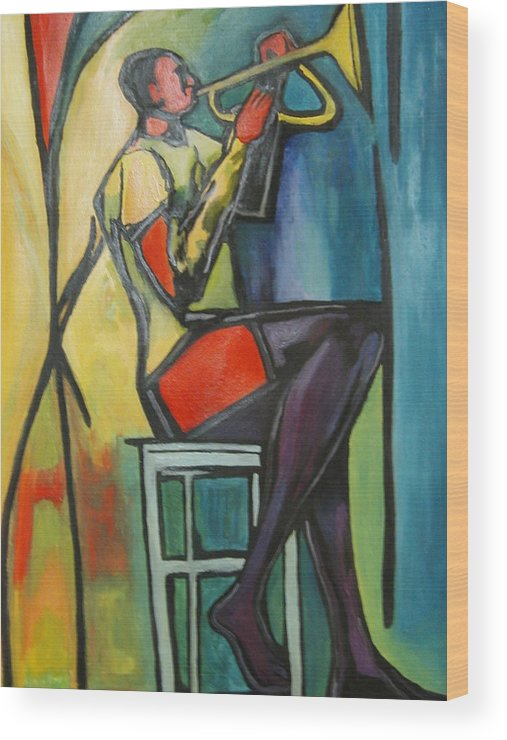 Abstract Wood Print featuring the painting Jazz Trumpet Player by Angelo Thomas