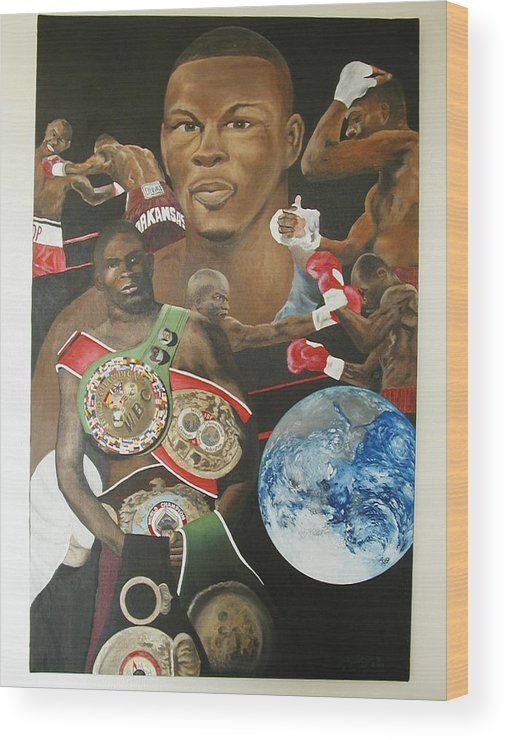 Portrait Wood Print featuring the painting Jermain Taylor Montage by Angelo Thomas