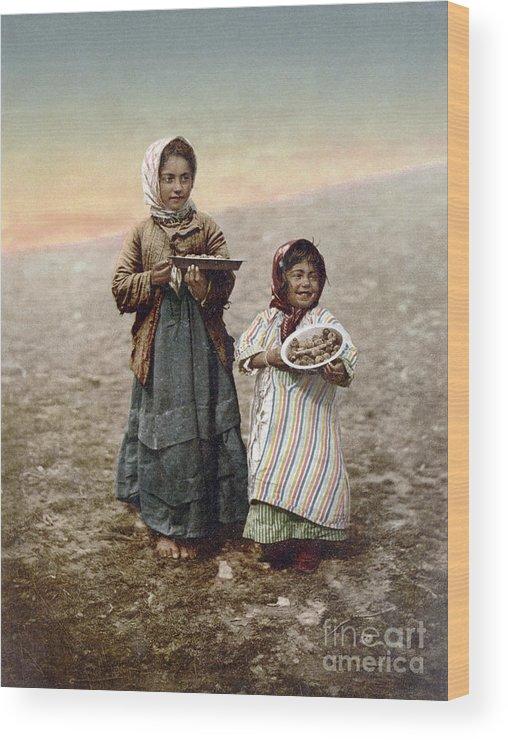 1900 Wood Print featuring the photograph Jerusalem Girls, C1900 by Granger