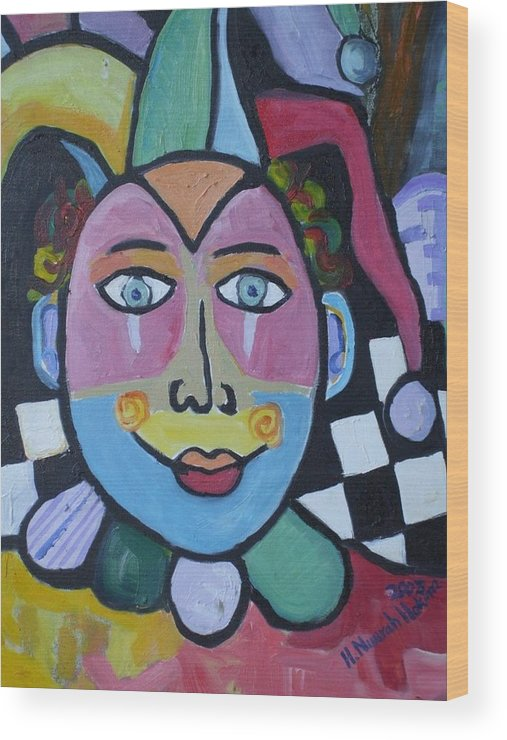 Clown Wood Print featuring the painting Jester by H Nuurah Hakima