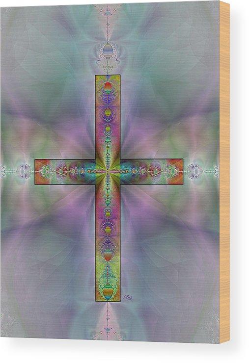 Christian Catholic Cross Impressionistic Gordon Beck Art Wood Print featuring the digital art Jeweled Cross by Gordon Beck