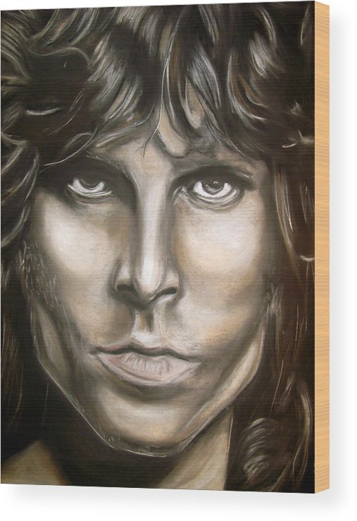 Jim Wood Print featuring the drawing Jim Morrison by Zach Zwagil