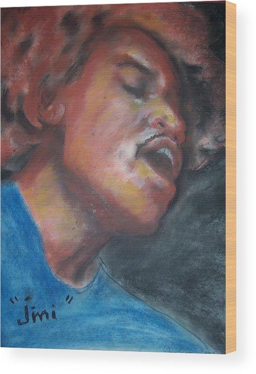 Jimi Hendrix Wood Print featuring the print Jimi by Darryl Hines