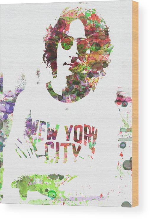 Wood Print featuring the painting John Lennon 2 by Naxart Studio