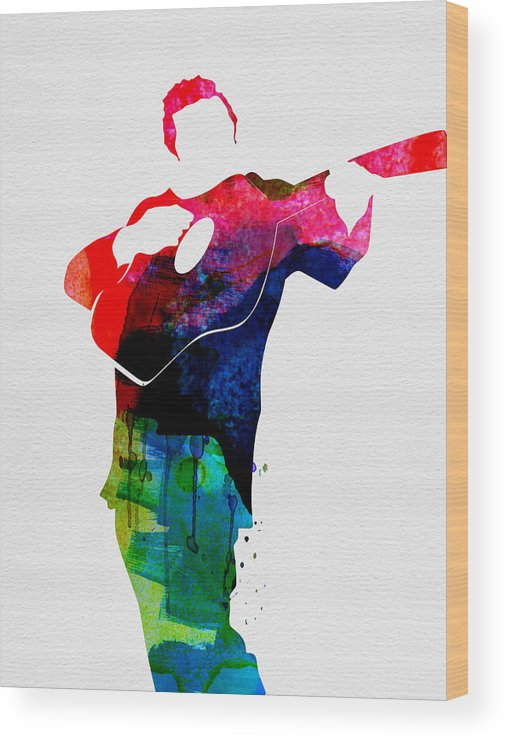 Johnny Cash Wood Print featuring the painting Johnny Watercolor by Naxart Studio