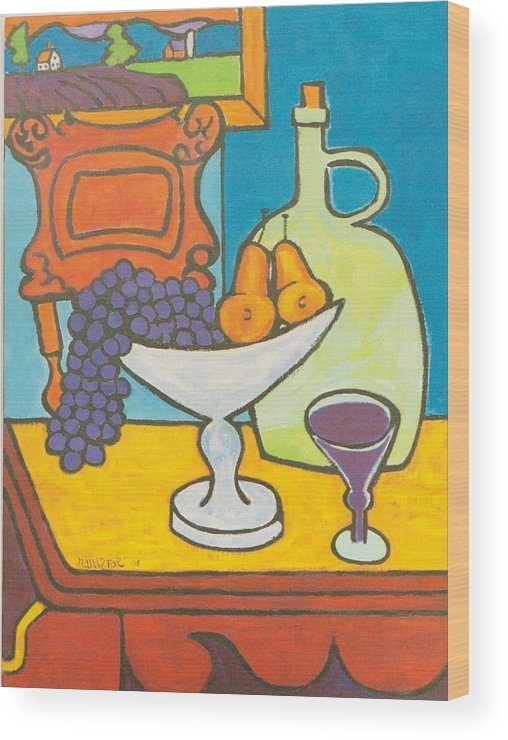 Jug Wood Print featuring the painting Jug Of Wine by Nicholas Martori