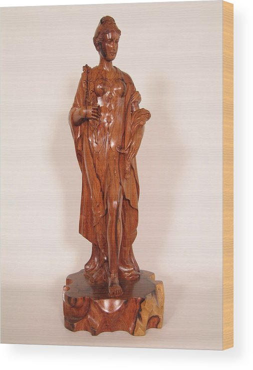 Statue Wood Print featuring the sculpture Justice by Thu Nguyen