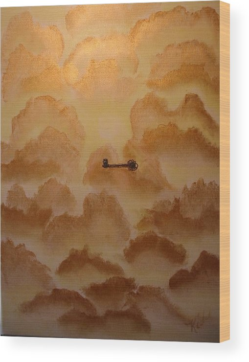 Gold Wood Print featuring the painting Keys To The Kingdom by Laurie Kidd