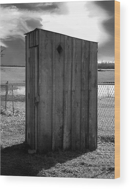 Ansel Adams Wood Print featuring the photograph Koyl Cemetery Outhouse5 by Curtis J Neeley Jr