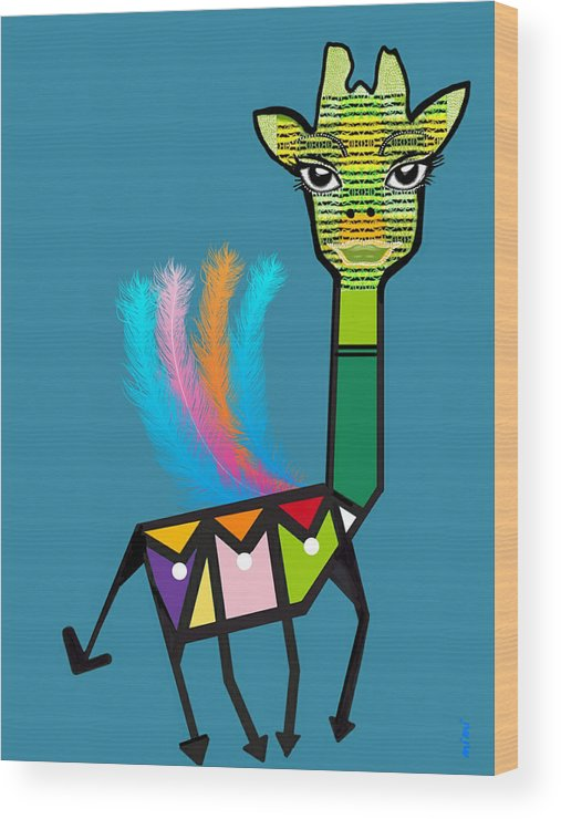 Girafe Wood Print featuring the digital art La Girafe A Plumes by Michelle Sogalow