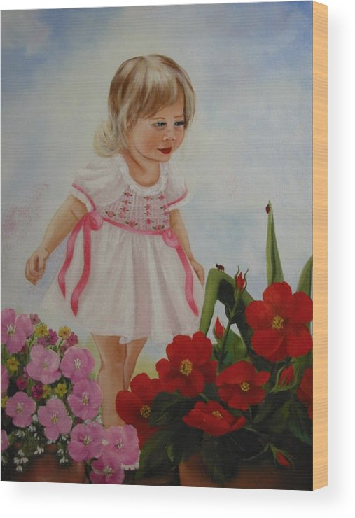 Child Wood Print featuring the painting Lady Bug Lady Bug by Joni McPherson