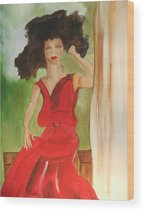 Painting Wood Print featuring the painting Lady In Red by Taylor Lacey
