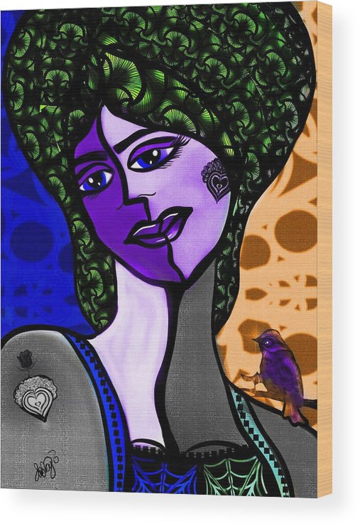 Cubist Wood Print featuring the digital art Lady Me by Aixa Olivo