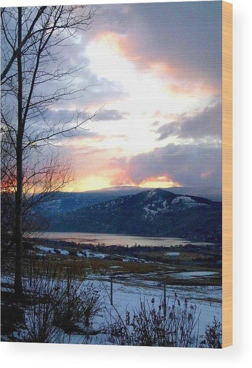 Sunset Wood Print featuring the photograph Lake Okanagan Sunset At Vernon by Will Borden