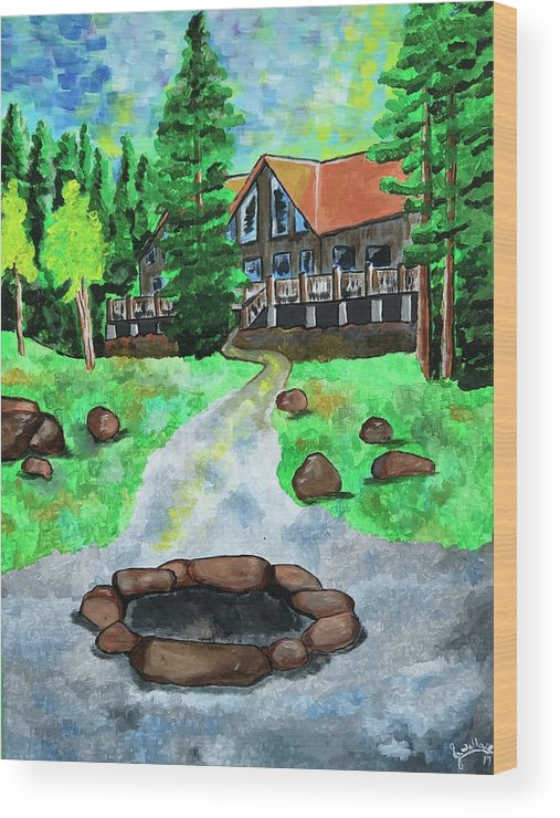 Wood Print featuring the painting Lakewoods Lodge by Julie K Wallace