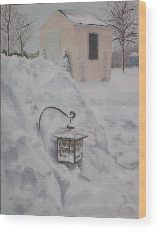 Snow Wood Print featuring the painting Lantern In The Snow by Lea Novak