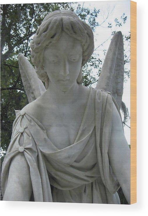 Laurel Wood Print featuring the photograph Laurel Grove Angel #1 by Lisa Erin Brown