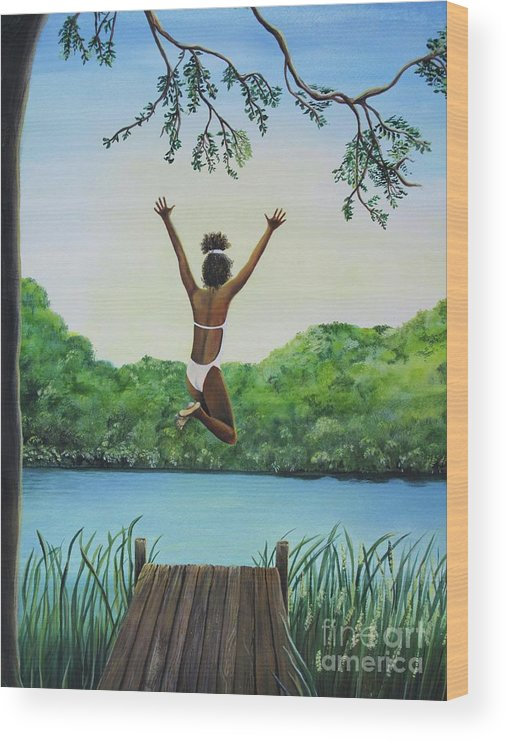 Summer Vacation Wood Print featuring the painting Leap Of Faith by Kris Crollard