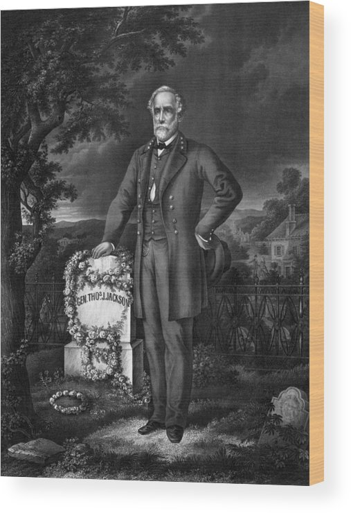 Civil War Wood Print featuring the drawing Lee Visits The Grave Of Stonewall Jackson by War Is Hell Store