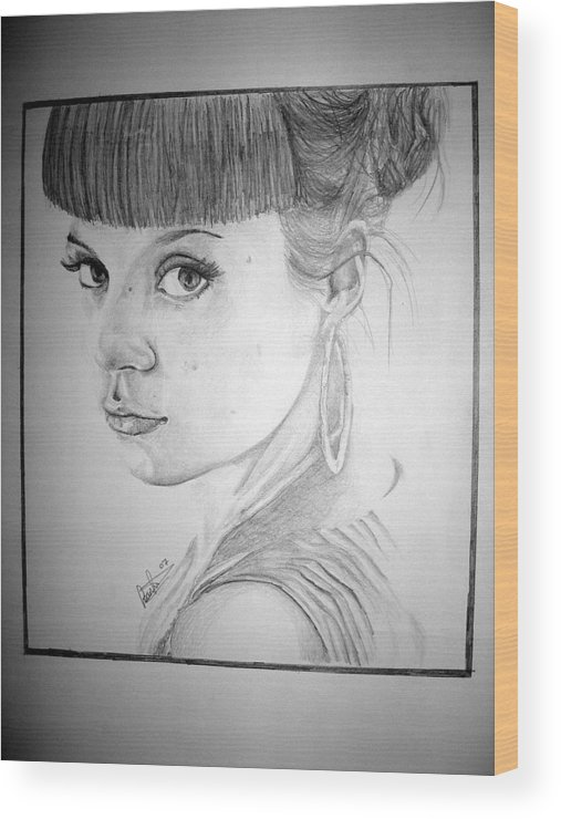 Celeb Portraits Wood Print featuring the drawing Lily Allen by Sean Leonard