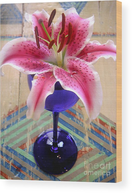 Nature Wood Print featuring the photograph Lily On A Painted Table by Lucyna A M Green