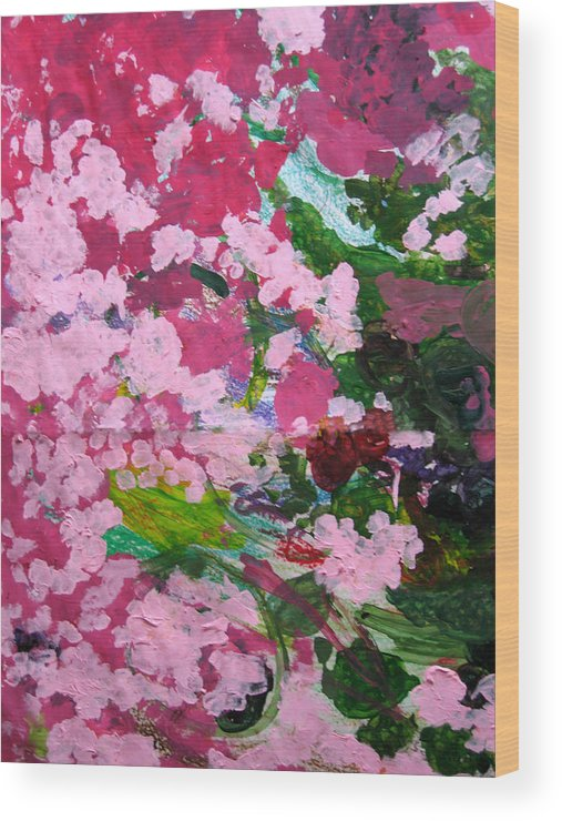 Abstract Wood Print featuring the painting Lily Pads by Kim Putney