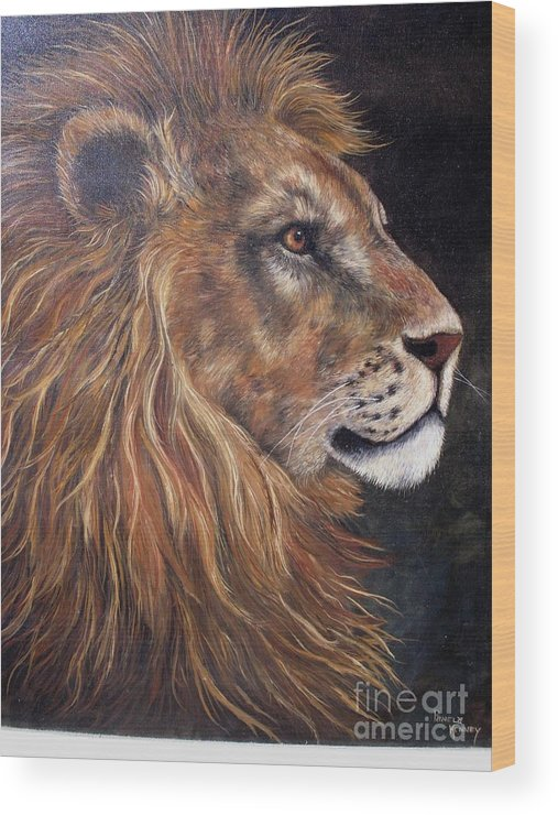 Lion Wood Print featuring the painting Lions Portrait by Pamela Squires