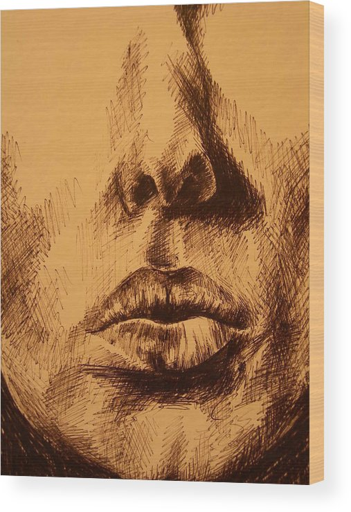Portrait Wood Print featuring the drawing Lips Are Beautiful by J Oriel