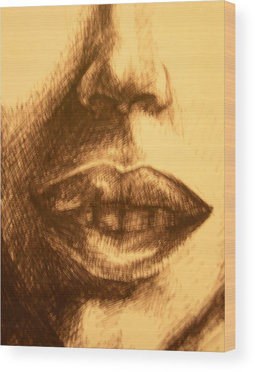 Lips Wood Print featuring the drawing Lips by J Oriel