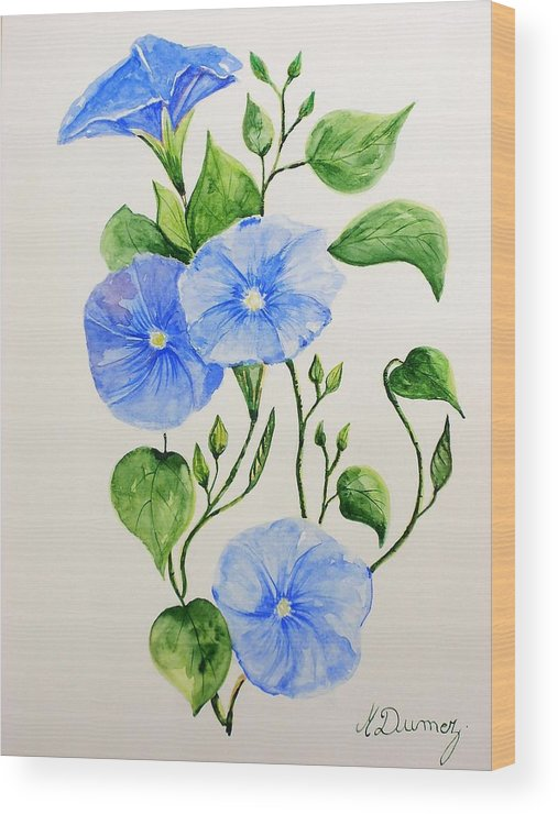 Flowers Wood Print featuring the painting Liseron by Murielle Hebert