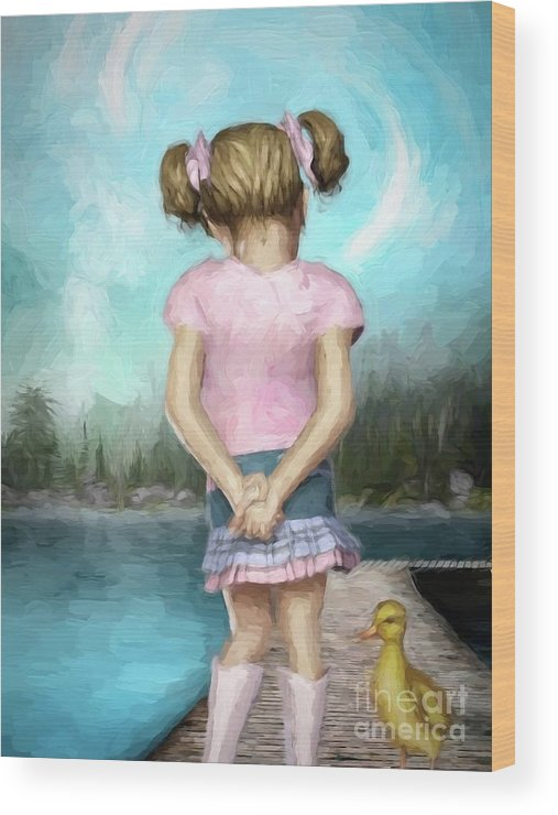 Girl Wood Print featuring the digital art Little Friends by Autumn Moon