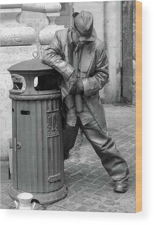 Italy Wood Print featuring the photograph Living Statue Rome by Hh Vv