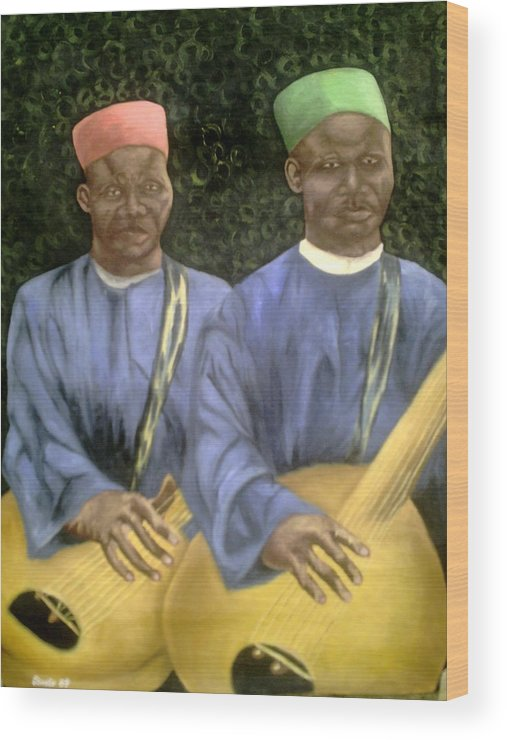Culture Wood Print featuring the painting Local African Guitarist by Olaoluwa Smith