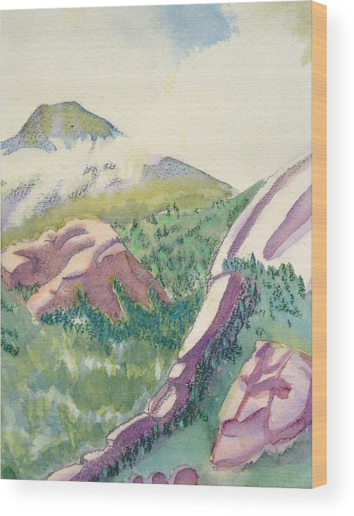 Mountains Wood Print featuring the painting Lost Creek by D T LaVercombe