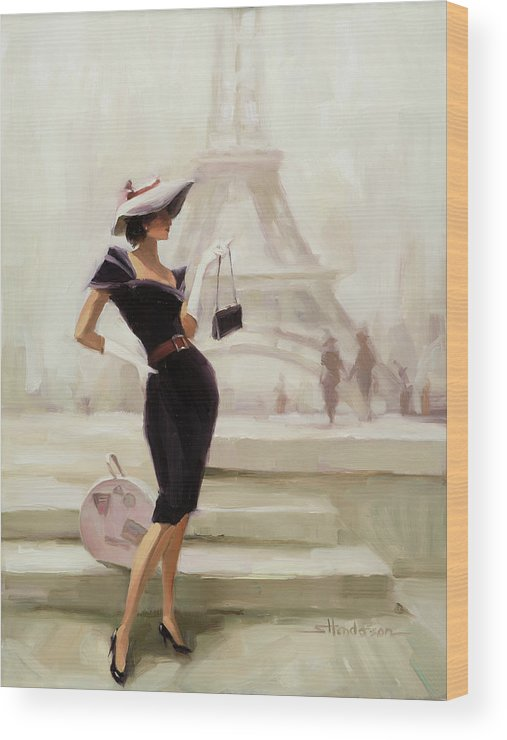 Paris Wood Print featuring the painting Love, From Paris by Steve Henderson