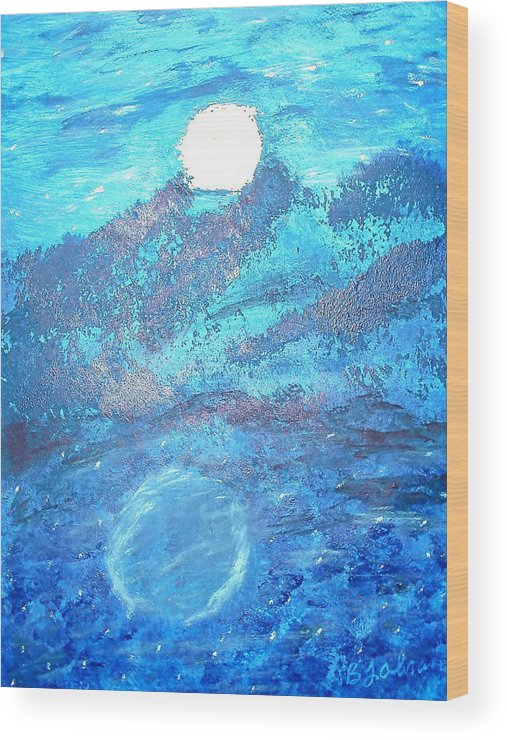 Acrylic Wood Print featuring the painting Lover's Moon by BJ Abrams