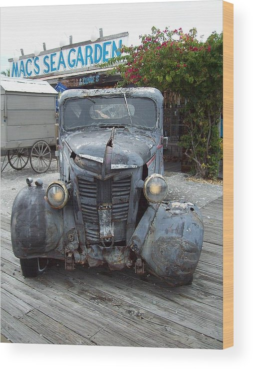 Truck Wood Print featuring the photograph Mac's Sea Garden by Nancy Taylor