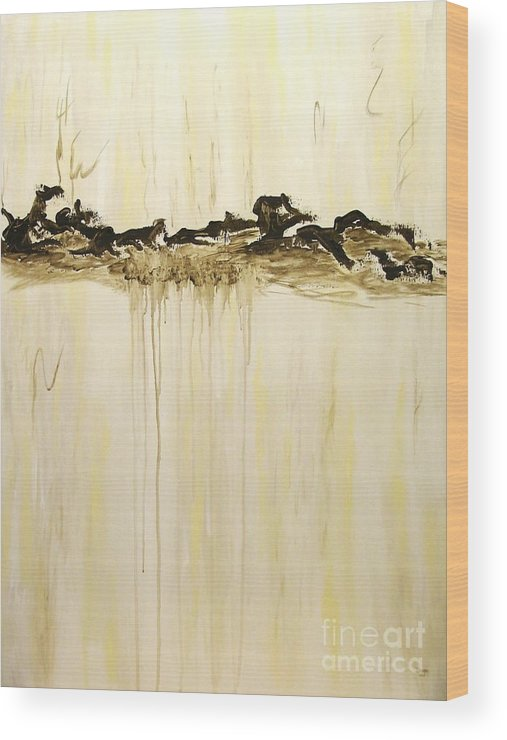 Abstract Wood Print featuring the painting Maelstrom Original Contemporary Modern Abstract Painting by Itaya Lightbourne