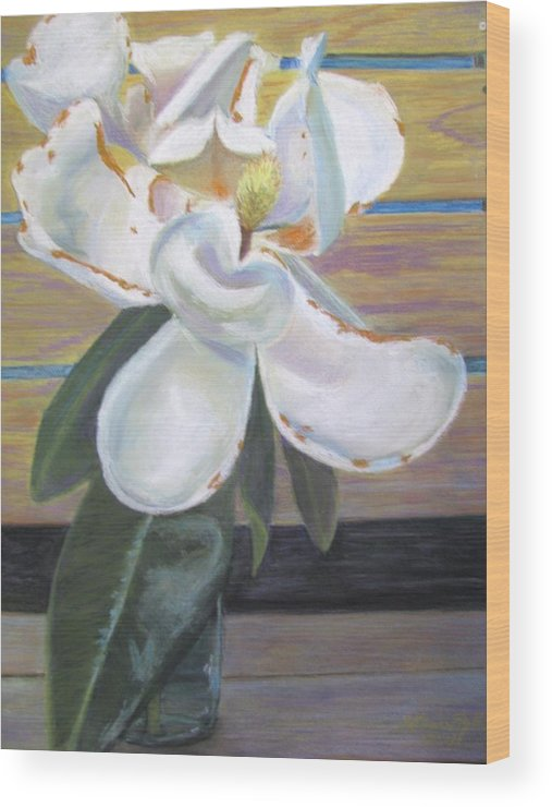 Flowers Wood Print featuring the painting Magnolia by Gloria Byler