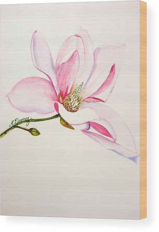Flower Wood Print featuring the painting Magnolia by Murielle Hebert