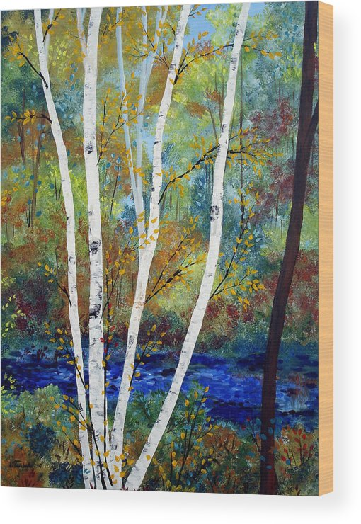 Landscape Wood Print featuring the painting Maine Birch Stream by Laura Tasheiko
