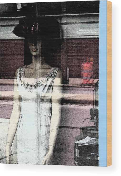 Abstract Wood Print featuring the photograph Mannequin Window 1 by Gary Everson