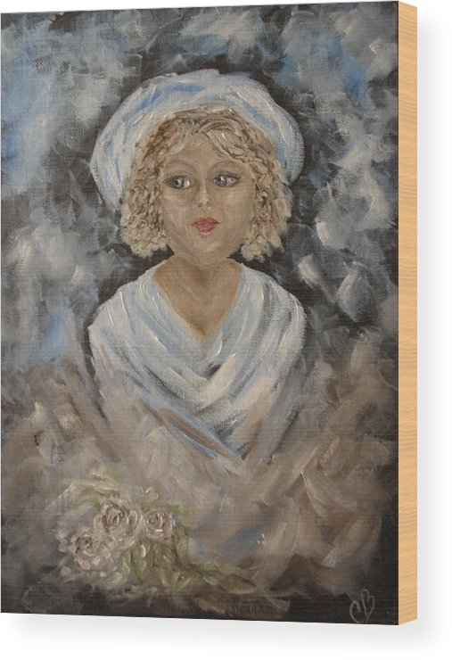 Woman Wood Print featuring the painting Marilynn by Carrie Mayotte